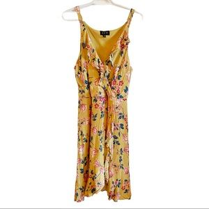AUW yellow floral ruffled wrap dress